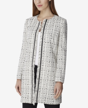 Tahari Asl Jackets BOUCLE FRINGE-TRIM TOPPER JACKET