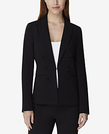 Tahari Petite Double-Breasted Kiss-Front Blazer