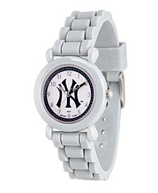 Gametime MLB New York Yankees Kids' Gray Plastic Time Teacher Watch