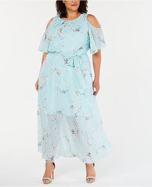 Plus Size Cold-Shoulder Floral Maxi Dress