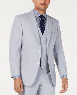Men's Modern-Fit THFlex Stretch Light Gray Chambray Suit Jacket