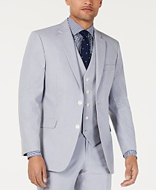 Tommy Hilfiger Men's Modern-Fit THFlex Stretch Light Gray Chambray Suit Jacket