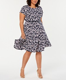Jessica Howard Plus Size Belted Fit & Flare Dress