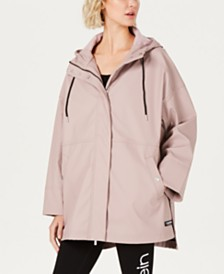 Calvin Klein Performance Snap-Side High-Low Hem Rain Jacket