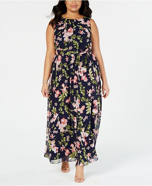 Plus Size Belted Floral Maxi Dress
