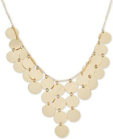 """Multi-Disc Dangle Disc Statement Necklace in 14k Gold-Plated Sterling Silver, 15-3/4"""" + 2"""" extender"""