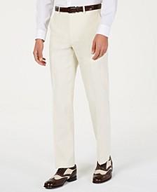 Men's Classic-Fit Off White Solid Suit Pants
