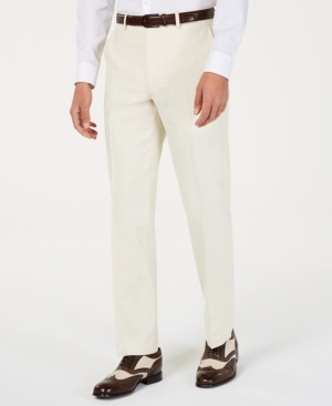 1920s Men's Pants, Trousers, Plus Fours, Knickers Sean John Mens Classic-Fit Off White Solid Suit Pants $50.00 AT vintagedancer.com