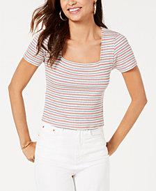 Gypsies & Moondust Juniors' Striped Rib-Knit T-Shirt