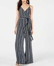 House of Polly Striped Faux-Wrap Jumpsuit
