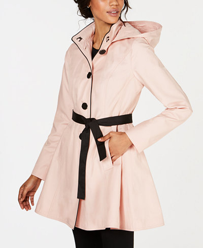 Laundry by Shelli Segal Skirted Water Resistant Hooded Trench Coat
