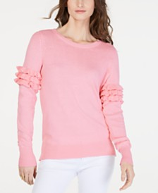 MICHAEL Michael Kors Cotton Ruffle-Sleeve Sweater, Regular & Petite Sizes