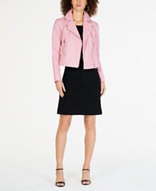 MICHAEL Michael Kors Leather Moto Jacket & Off-The-Shoulder Dress