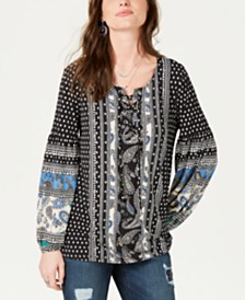 Style & Co Printed Grommet-Laced Top, Created for Macy's