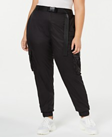 La La Anthony Trendy Plus Size Belted Parachute Pants