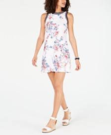 Tommy Hilfiger Floral-Print Lace Dress, Created for Macy's