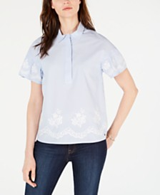 Tommy Hilfiger Striped Embroidered-Trim Cotton Top