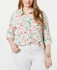 Tommy Hilfiger Plus Size Floral-Print Roll-Tab-Sleeve Shirt, Created for Macy's