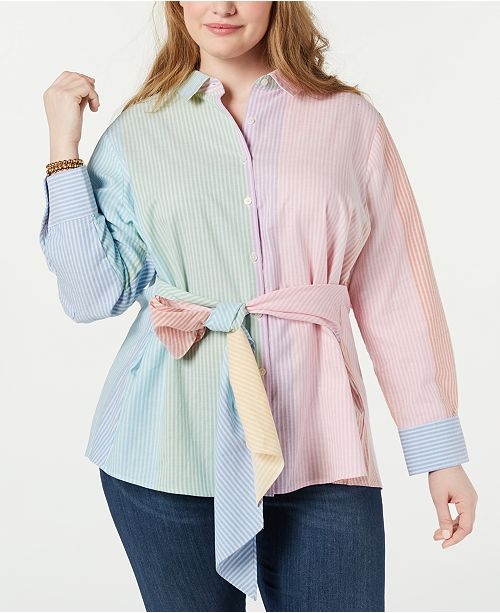 Tommy Hilfiger Plus Size Cotton Multicolor Tie-Waist Shirt, Created for Macy's