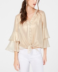 I.N.C. Metallic Tiered-Sleeve Blouse, Created for Macy's
