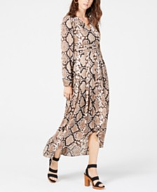 I.N.C. Petite Python-Print High-Low Shirtdress, Created for Macy's