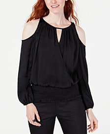 I.N.C. Cold-Shoulder Surplice-Front Top, Created for Macy's
