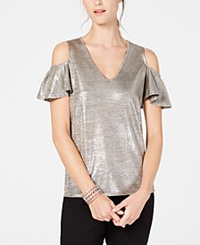 INC Petite Metallic Cold-Shoulder Top, Created for Macy's