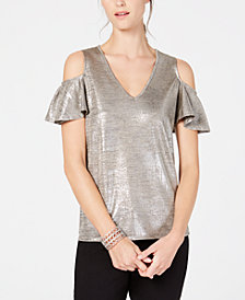 INC Metallic Cold-Shoulder Top, Created for Macy's