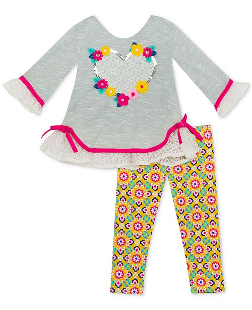 Rare Editions Baby Girls 2-Pc. Lace-Trim Top & Printed Leggings Set