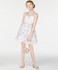 Rare Editions Big Girls Floral Embroidered Dress, Created for Macy's