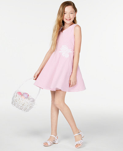 Rare Editions Big Girls Fit & Flare Seersucker Dress, Created for Macy's