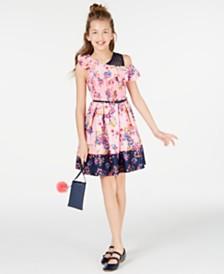 Beautees Big Girls Smocked Border-Print Skater Dress