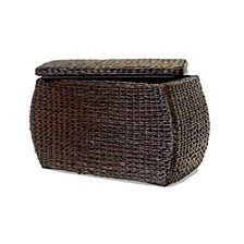 Rectangular Bulge Havana Weave Rush Lined Storage Ottoman with Lift-Off Lid