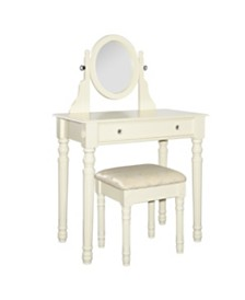 Lorraine Vanity Set with Bench and Mirror