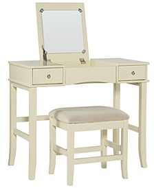 Jackson Vanity Set with Bench and Flip Up Mirror