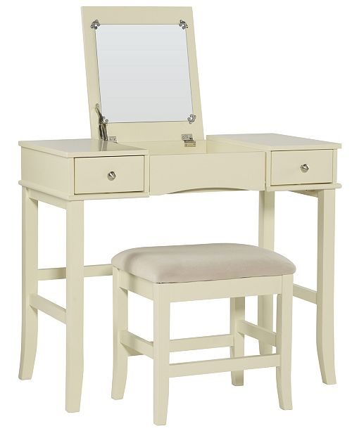 Linon Home Décor Jackson Vanity Set With Bench And Flip Up Mirror