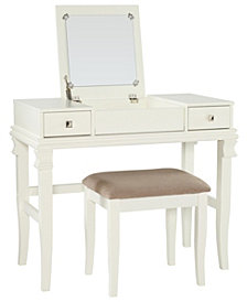 Angela Vanity Set with Bench and Mirror, White