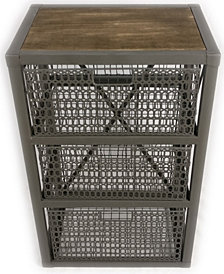 3 Drawer Metal Cabinet with Wood and Metal Mesh Drawers