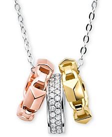 """Michael Kors Tri-Tone Sterling Silver Pavé Pendant Necklace, 16"""" + 2"""" extender"""