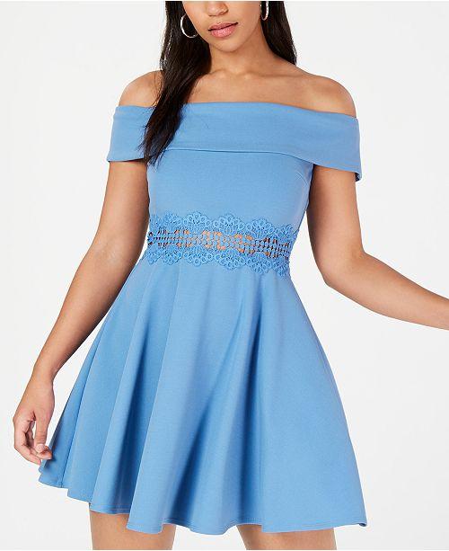 B Darlin Juniors' Off-The-Shoulder Crochet Dress