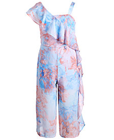 Sequin Hearts Big Girls Floral-Print One-Shoulder Jumpsuit