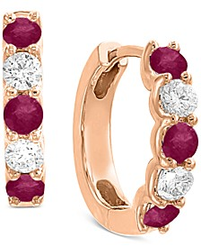 EFFY® Certified Ruby (3/4 ct. t.w.) & Diamond (3/8 ct. t.w.) Hoop Earrings in 14k Rose Gold
