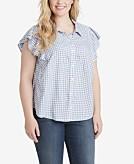 Jessica Simpson Trendy Plus Size Ruffle-Sleeve Shirt