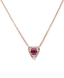"Certified Ruby (3/8 ct. t.w.) & Diamond (1/10 ct. t.w.) Heart 16""  Pendant Necklace in 14K Rose Gold"