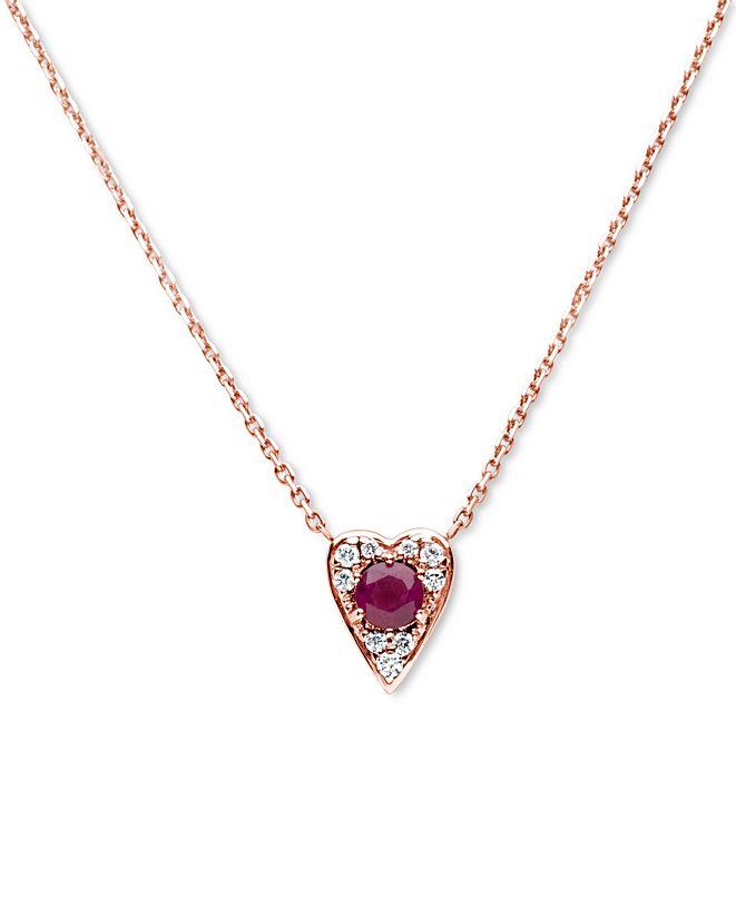"Macy's Certified Ruby (3/8 ct. t.w.) & Diamond (1/10 ct. t.w.) Heart 16""  Pendant Necklace in 14K Rose Gold"