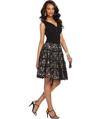SL Fashions Lace Ruched A-Line Dress - Dresses - Women - Macy's