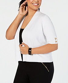 JM Collection Plus Size Open-Front Cardigan, Created for Macy's