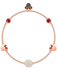 Swarovski Remix Rose Gold-Tone Crystal Fireball & Minnie Mouse Magnetic Link Bracelet