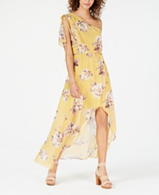 City Studios Juniors' Printed One-Shoulder Dress