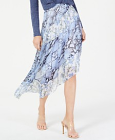 0fd19f45806 I.N.C. Asymmetrical Printed Midi Skirt